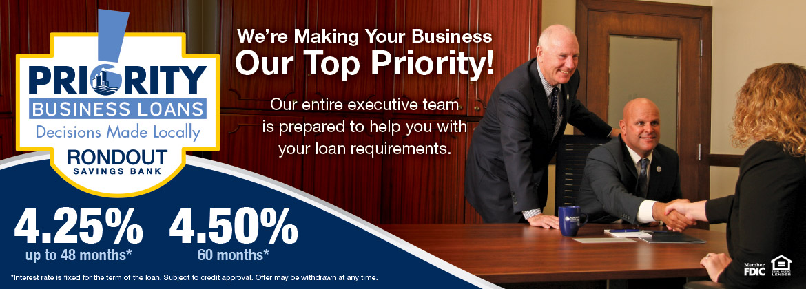 We're making your business our top priority! Priority business loans.